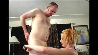 Man in panties jerked by punk chic