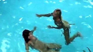 Amazing anal group sex with DP action by the pool