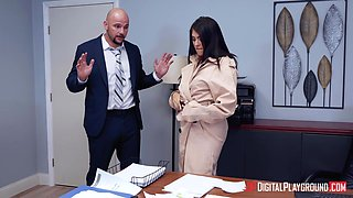 Sexy alluring secretary doesn't mind fucking right in the office
