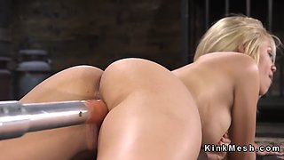 blonde in stockings anal fucks machine