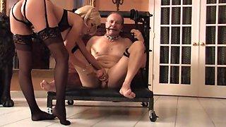 Hot blond mistress skyler ball kicking