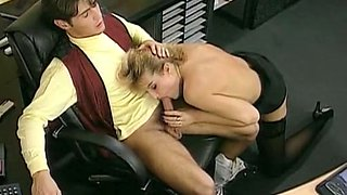 Sweet and sexy blondie with perky breasts feels horny in the office