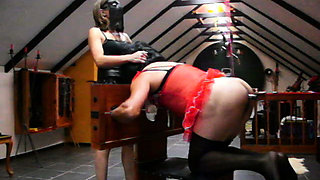 Domme Sissifies Another at Home