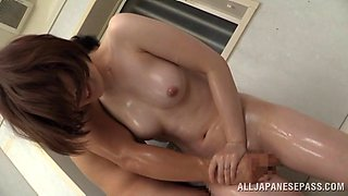 Japanese oils up for fingering and fuck in bathroom