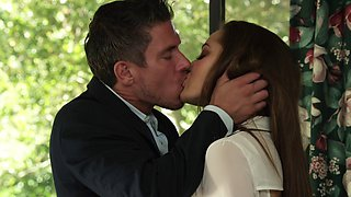 Brunette porn star with a hot body enjoying a hardcore missionary style fuck