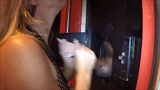 Wife getting cummed on at glory hole