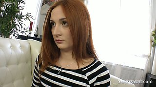 Alluring bitch with red hair Eva Berger sucks chocolate dick