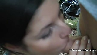 Young girl gets facial cumshot in public