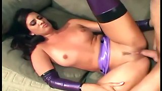 Maid fucking in latex lingerie and high heels