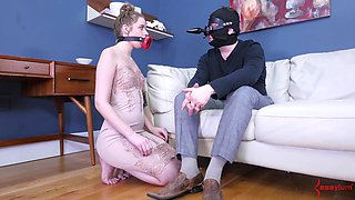 Hot ball sucking and pussy drilling with a slutty slave Jessica Kay