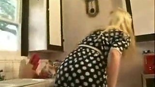 spanking her daughter naked in the kitchen