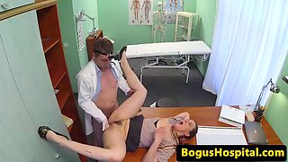 Eurobabe fucks doctor and squirts