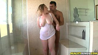 Gorgeous big titty slut gets fucked in the bathroom