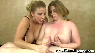 Busty mum and daughter wank on a cock