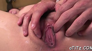 Japanese babe fondles her milk sacks while toying her snatch