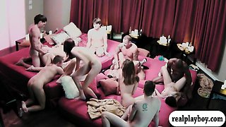 Couples swap partners and massive orgy in the red room