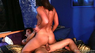 Sexually charged babe Mischa Brooks is riding a hard and meaty dick face to face