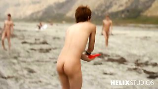 It\'s a naked day at the beach for our Helix Studios boys.