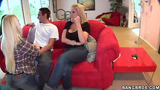 Three Teens Give a Blowjob on a Red Couch