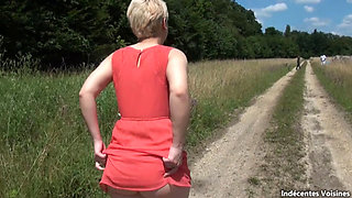 Busty french girl fucked outdoors by black cocks
