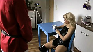 Big breasted blonde cougar spreads her legs for a stiff cock
