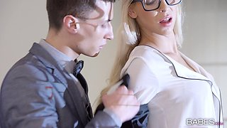 Hot blonde wearing nerdy glasses gets slammed in office