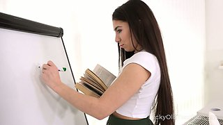 Yummy college teen in kilt skirt Kandy Kors seduces her teacher