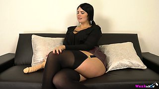 Curvy chubby temptress Kylie K plays with her big dildo toy