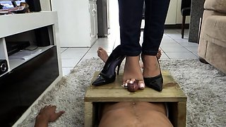 Dominant amateur babe punishes a cock with her lovely feet