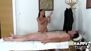 Sexy thai masseuse gives sensual blowjob to client after relaxing massage