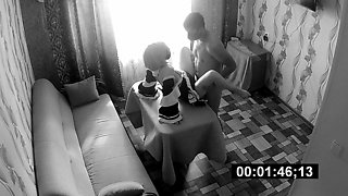 A guy fucks a maid and films her on a hidden camera
