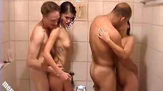 Group shower taking