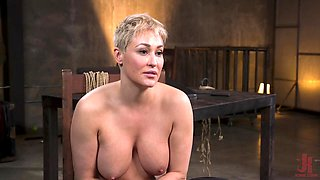 Buxom MILF slave Ryan Keely hanged upside down, abused and gets cum