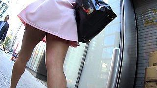 Elegant amateur milf in high heels upskirt on the street
