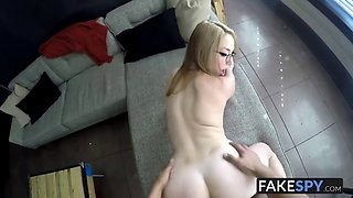 Blonde cutie with glasses sucks a big dick on her interview