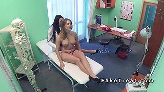 Hot dark haired nurse licks patient