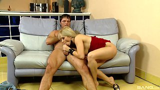 Tall flexible long haired woman was licked before real act
