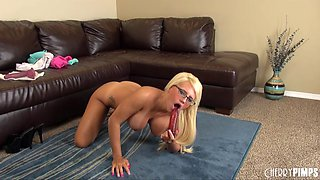 Busty tan lines babe Jacky Joy fucks toys on the living room floor