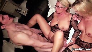 German Mom and Aunt Teach Virgin Step-Son how To Fuck