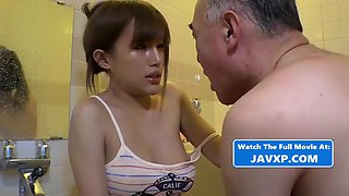 Beautiful asian teen takes care of grandpa