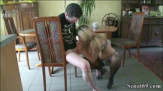 GERMAN MILF Jenny Seduce to Young Neigbor Guy to Fuck