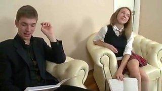 Russian Schoolgirl Does Her Homework