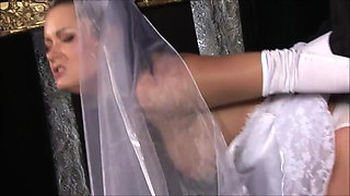 Runaway bride in sexy white nylons