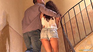 Sweet girl cheats on her boyfriend with a horny dude