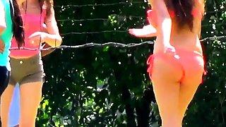 Street voyeur films attractive amateur girls in sexy bikinis