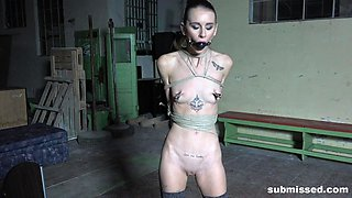 Skinny blonde slave slut Adelle Unicorn tied up and ball gagged
