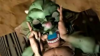 3D hentai girl double penetration by monster and shemale