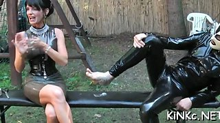 slave tied up and jerked off feature