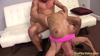 Flexible blonde Milf Fit Gina gets rough fucked in crazy kamasutra sex positions
