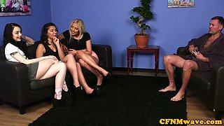 Young eurobabes teasing CFNM fetish guy